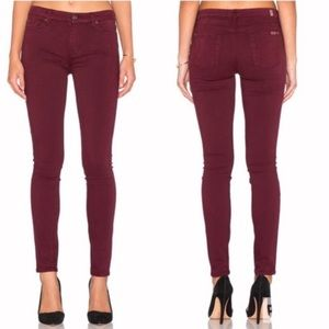 7 For All Mankind Burgundy Red Wine Skinny Jeans